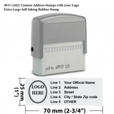 4915 (A02) Custom Address Stamps with your Logo Extra Large Self Inking Rubber Stamp