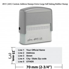 4915 (A01) Custom Address Stamps Extra Large Self Inking Rubber Stamp