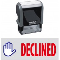 Declined & Pic. Trodat Printy 4912 Self-Inking Two Color Stock Message Stamp