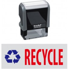 Recycle & Pic. Trodat Printy 4912 Self-Inking Two Color Stock Message Stamp