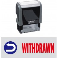Withdrawn & Pic Trodat Printy 4912 Self-Inking Two Color Stock Message Stamp