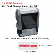 For Mobile Deposit at 4912 Stock Message Stamp (Red Ink)
