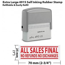 All Sales Final No Refunds No Exchanges-Extra Large Self Inking Rubber Stamp JYP 4915-A02-Red Ink