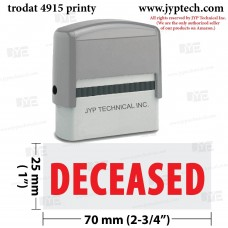 Deceased Extra Large 4915 Self Inking Rubber Stamp (Red Ink)