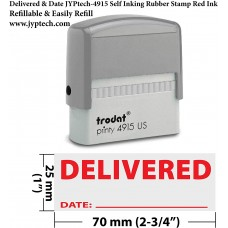 Delivered & Date with Line 4915-Self Inking Rubber Stamp (Red Ink)