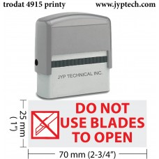 Do Not Use Blades to Open w. pic. Extra Large 4915 Self Inking Rubber Stamp (Red Ink)