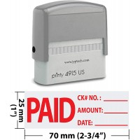 Paid Check No Amount Date with 3 Lines 4915-Self Inking Rubber Stamp (Red Ink)