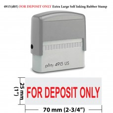 4915 (D05)  For Deposit Only Extra Large Self Inking Rubber Stamp