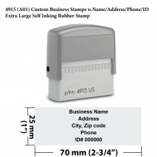 4915 Custom Business Stamps w.Name/Address/Phone/ID