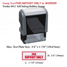 For Deposit Only w. Border 4912 Self Inking Office Rubber Stamp