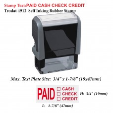 Paid Cash Check Credit 4912 Self Inking Rubber Stamp