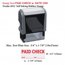 Paid Check w. Date Ck# 4912 Self Inking Office Rubber Stamp