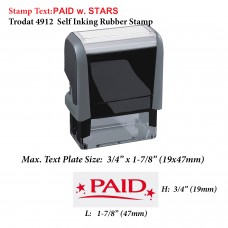 Paid w. Stars 4912 Self Inking Rubber Stamp