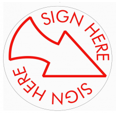 PC15 Sign HERE with Arrow Round Teacher Stamp