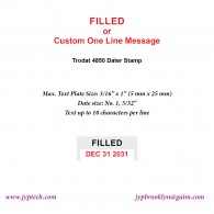 Filled w. Date or Custom One Line Message 4850 Self Inking Stamp